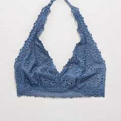 Aerie Boho Lace Halter Bralette ($15) ❤ liked on Polyvore featuring intimates, bras, blue, bralette halter top, lace halter top, bralette bra, lined bra and blue bra