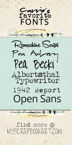 Carrie's Favorite Fonts | My Scrapbook Art
