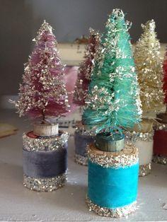 Cute Bottle Brush Tree Velvet Covered Vintage Wood Spool Glass Glitter Christmas | eBay