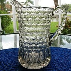 Honeycomb Pillar 9 in. Water Pitcher Early 1800s