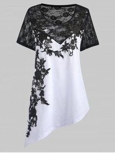 Shop for WHITE 5XL Lace Applique Plus Size Asymmetric Top online at $21.91 and discover fashion at RoseGal.com #plussizefashion,