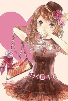 ✮ ANIME ART ✮ clothes. . .cute fashion. . .dress. . .belt. . .purse. . .bag. . .roses. . .flowers. . .curly hair. . .mini hat. . .cute. . .kawaii