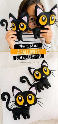 Meet Cleo and Cloe. A Free Halloween Black Cat Softie Pattern to enjoy with kids. A Perfect Beginner Sewing Project to teach your kids how to sew and have lots of fun together. Because Halloween does not always need to be scary how about this cute Halloween Black Cat Softie? Halloween Cat Crafts, Halloween Sewing Projects, Sewing Projects For Beginners, Cute Halloween, Halloween Tutorial, Halloween Black Cat, Diy Projects, Halloween Camping, Softies