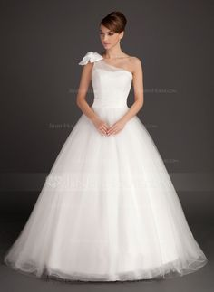 Wedding+Dresses+-+$184.99+-+Ball-Gown+One-Shoulder+Sweep+Train+Satin+Tulle+Wedding+Dress+With+Ruffle+Bow(s)+(002015487)+http://jenjenhouse.com/Ball-Gown-One-Shoulder-Sweep-Train-Satin-Tulle-Wedding-Dress-With-Ruffle-Bow-S-002015487-g15487