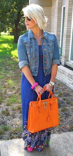 Maxi Dress, Denim Jacket, Bright Handbag
