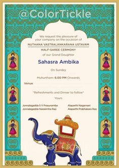 A custom invitation for South Indian Voni function (Half Saree) made with Indian elements like Elephants , Dancing Dolls and Kondappalli Dolls . Illustrated Wedding Invitations, Indian Wedding Invitation Cards, Wedding Invitation Video, Wedding Invitation Card Design, Indian Wedding Invitations, Printable Wedding Invitations, Custom Invitations, Wedding Stationery, Invites