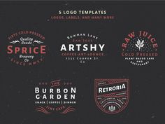 5 Vintage Badge Logos Vol 01 Part 1 By Wilder Collective --- Make your vintage logo easy with this badge templates. 5 Logo, Badge Logo, Logo Branding, Branding Design, Logo Design, Graphic Design, Badge Template, Logo Templates, Business Brochure