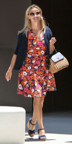 5 Celebrity-Inspired Outfit Ideas to Amp Your Office Look  - Monday: Floral Wrap Dress + Cardigan from InStyle.com