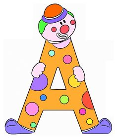Letter A clown Diy And Crafts, Crafts For Kids, Circus Birthday, Birthday Party Decorations, Bart Simpson, Creations, Classroom, Techno, Clowns