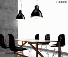 The Great JJ by Design Lab for Leucos. Hanging lamp in lacquered aluminium: matt white, polished white, matt black, polished black or matt light-grey. Inside the diffuser: lacquered white. Ceiling rose in white polycarbonate.