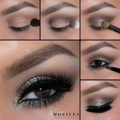 """My Photo Pic of The Day! 1.Begin by applying """"Birch"""" onto the brow bone! Using """"Latte"""" apply slightly above the crease 2.Taking """"Vino"""" and """"Chocolight"""" blend in the crease 3.Using """"Sterling"""" gem dust apply onto the lid, keeping it underneath the crease 4.Take Motives eye Khol in black and line the water line.. Smudge out using """"Onyx"""" to add some more sparkle apply """"Sterling"""" gem dust underneath the lower lash line taking it about half way in 5.Line the eyes using """"LBD"""" gel liner GET THE LOOK…"""