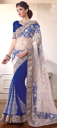 156793, Party Wear Sarees, Embroidered Sarees, Net, Machine Embroidery, Resham, Stone, Zari, Border, Lace, Blue, White and Off White Color Family