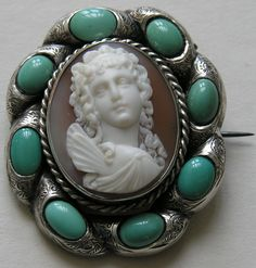 Victorian Psyche Shell Cameo Silver Brooch