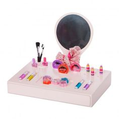 Barrutoys Dressing table `One size Details : 4 brushes, 2 nail varnish, 3 hair colours, 7 lipstick, 4 eyeshadows, 1 blush * Age : Age 6 and upwards * Tray: Length : 45 cm, Width : 30 cm, Height : 8 cm. Total height: 36 cm. http://www.MightGet.com/january-2017-13/barrutoys-dressing-table-one-size.asp