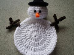 Snowman  Character Coasters Amigurumi   Set Of 2 by NotJustCozies