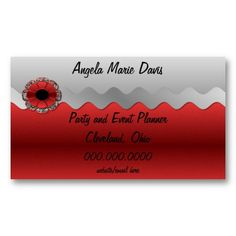 Click Image to Purchase (Customizable) Elite Zebra Red Floral and Gray Designer Business Card, Appointment Card or Party Place Card  #BusinessCard #AppointmentCard #FancyRed