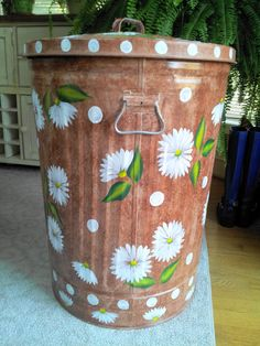 30 gallon decorative hand painted galvanized metal trash can wside handles and tight fit lid