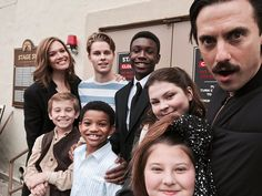 Nine-year-old Big Three, meet teenage Big Three.  This Is Us stars Mandy Moore and Milo Ventimiglia took to Twitter on Friday to share a family photo unlike any other. This Pearson family snap, taken on the show's set, features the actors that play Kate, Kevin, and Randall when they're children and when they're teenagers. Thanks to the out-of-order chronology of the show, the eight actors never share screen time together, making the snap all the more special.