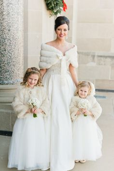 Gorgeous faux fur wraps for a bride and her flower girls. Perfect to keep you warm at your Christmas wedding. Flower Girls, Winter Flower Girl, Winter Flowers, Flower Girl Dresses, Dresses Dresses, Dresses Online, Bridal Dresses, Bridesmaid Dresses, Wedding Coat