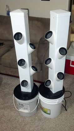 Small Dual Rain Tower Hydroponic System - Home Made