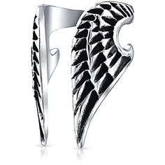 Guardian Angel Wings Oxidized Ear Cuff Stainless Steel One Piece (€11) ❤ liked on Polyvore featuring jewelry, rings, bracelets, earrings, bague, stainless steel jewelry, oxidised jewellery, oxidized jewellery, angel wing ear cuff and cuff jewelry