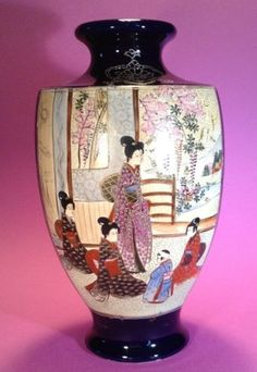 Nippon-Satsuma-Cobalt-Blue-Vase-With-Hand-Painted-Scenic-Panels-Gilding-Moriage