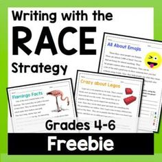 The RACE Strategy is a structure to help students answer passage-based, short response questions in a formal style, with using clear reasons and evidence from the text, and to provide concluding statements. Why use the RACE strategy? Races Writing Strategy, Race Writing, Writing Strategies, Writing Lessons, Teaching Writing, Teaching Ideas, Teaching Resources, Writing Centers, Reading Centers
