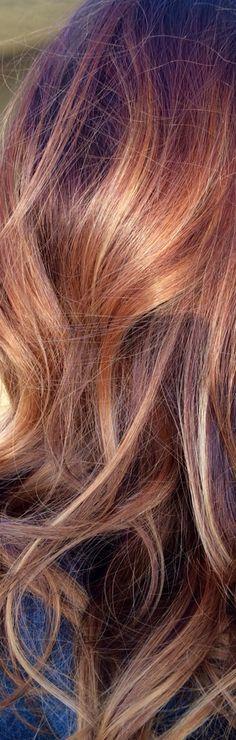 Copper brown to caramel blonde balayage