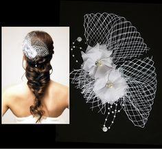 Beautiful mesh silk flowers bridal hair pin