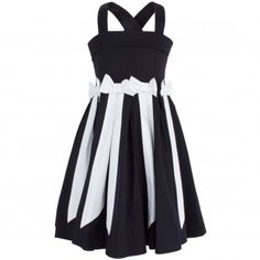 Jottum black dress with white stripes and bow details. Features two adjustable straps with button fastenings at the reverse, an elasticated panel and zip fastening on the reverse and a black built in ribbon tie-fastening on the reverse.