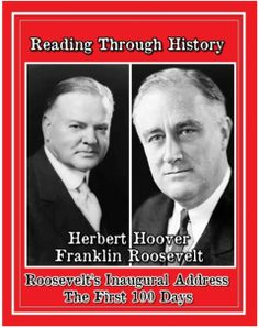 """This is part of Reading Through History's unit covering the Great Depression. In this download there are four separate lessons dealing with the presidencies of Herbert Hoover and Franklin Roosevelt. The first lesson covers Herbert Hoover, explaining his life and his reaction to the onset of the Great Depression. The next three lessons cover Franklin Roosevelt, his election, his first inauguration speech, and his """"New Deal"""" to take on the Great Depression."""