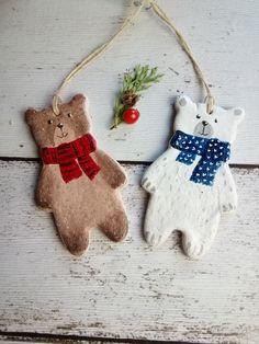 Bear, Christmas ornament eco of salt dough Bears ornaments of salt dough Salt Dough Christmas Ornaments, Clay Christmas Decorations, Christmas Scents, Christmas Clay, Clay Ornaments, How To Make Ornaments, Homemade Christmas, Holiday Crafts, Homemade Ornaments