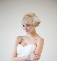 Fascinator de la pluma nupcial boda tocado de pluma