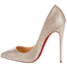 Preowned Christian Louboutin New Sold Out Glitter Pigalle Follies... ($1,375) ❤ liked on Polyvore featuring shoes, pumps, beige, heels, evening shoes, christian louboutin shoes, cocktail shoes, glitter high heel pumps and holiday shoes #GlitterFashion