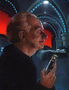 Palpatine admiring his lightsaber.