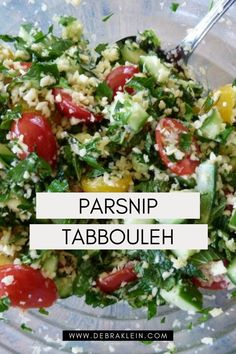 This easy healthy Tasty Tabbouleh recipe uses parsnips for a delicious grain-free alternative. Couscous Salad Recipes, Tabbouleh Recipe, Spinach Salad Recipes, Easy Summer Salads, Summer Salad Recipes, Mediterranean Salad Recipe, Paleo Recipes, Grain Free, Healthy