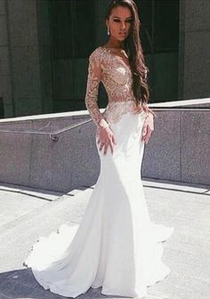 Popular White Prom Dress,Mermaid See Through Sexy Party Dress,Long Sleeves Party Dress,Fishtail dress