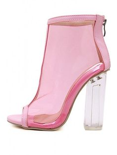 7cf69f12c31c7 Pink Clear Peep Toe Lucited Chunky Block High Heel Ankle Booties Sandals