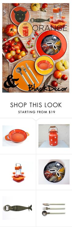 """""""Orange is the NeW Black Home"""" by le-shop-de-moz ❤ liked on Polyvore featuring interior, interiors, interior design, home, home decor, interior decorating, Silit, vintage, orangeandblack and colorchallenge"""
