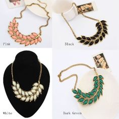 Fashion Womens Bib Statement Collar Chain Resin Leaves Pendant Necklace #yichengmall2014US #Statement