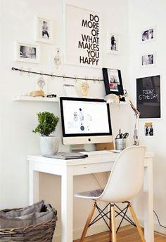 White desk. Great chair.