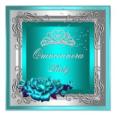 Teal Silver Roses Quinceanera 15th Birthday Custom Invites