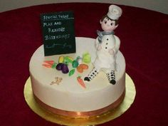 For the birthday of two student Chefs. Iced in Italian meringue buttercream, gumpaste chef and vegetables.