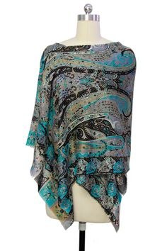 Grey Turquoise Spellcast Wool Blend Scarf