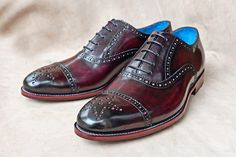 Dominique Saint Paul hand coloured crust leather half brogues in burgundy patina.