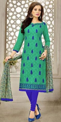 Sparkly Green Cotton Straight Suit With Dupatta.