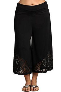 00013dbcbeca5 HeyHun Women s Solid Tie Dye Wide Leg Flared Capri Boho Gaucho Pants w   Lace Detail - Black at Amazon Women s Clothing store