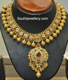 Antique Necklace latest jewelry designs - Page 74 of 332 - Indian Jewellery Designs Bridal Necklace Set, Bridal Jewelry, Gold Jewellery Design, Gold Jewelry, Jewelery, Designer Jewellery, Gold Necklaces, Diamond Jewellery, Statement Necklaces