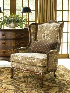 Thomasville Brompton Hall Dominique Chair- I like the style. Wingback Chairs, Armchair, Brompton, Floral Patterns, New Furniture, Accent Chairs, Decorating Ideas, Spaces, Living Room