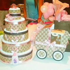 87634659f683 Gucci Inspired Diaper Cake and Carriage by XioMilansBoutique Diaper  Centerpiece